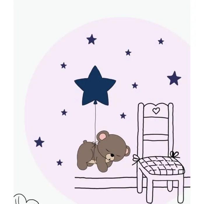 dessin anime mignon nounours lune etoiles couleur sticker mural pour enfants chambre bebe