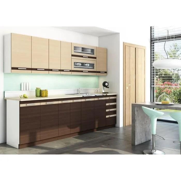lungo cuisine complete modulaire lineaire l260cm 8pcs plan de travail inclus meubles cuisine placard egouttoir wenge
