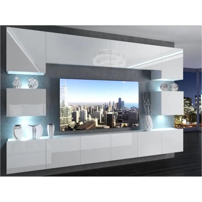 ensemble mural tv blanc