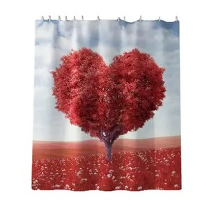 rideau coeur rouge
