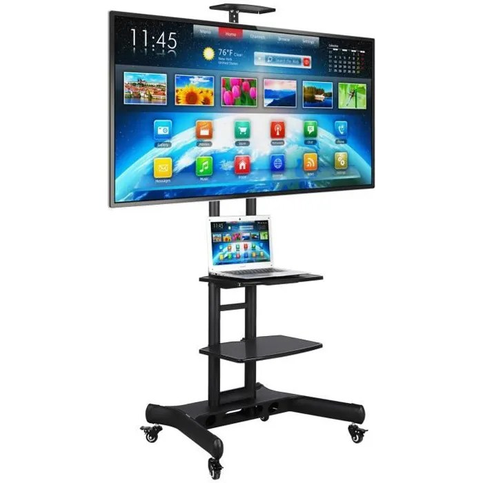 support tv sur pied yaheetech chariot meuble mobi