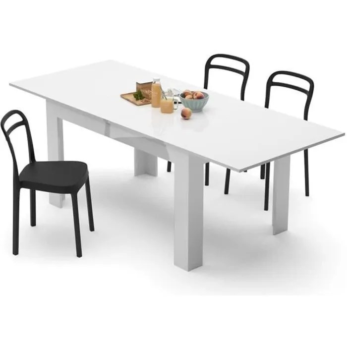 table blanche laque extensible