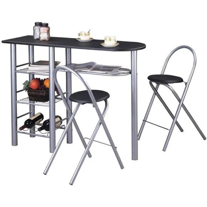 ensemble style avec table haute de bar mange debout comptoir et 2 chaises tabourets en mdf noir mat et structure en metal
