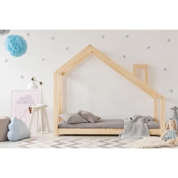 lit enfant 140 x 190 cm avec sommier et tiroir 2e couchage possible type cabane en bois naturel modele mdms