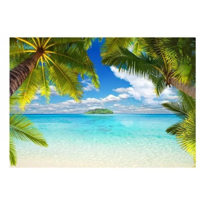 de 200x140 moderne papier peint palmiers paysage mer tropical iles plage paysage