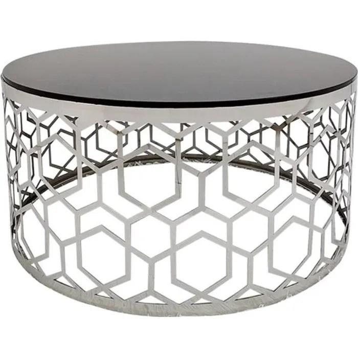 table basse coralie en verre noir et pieds argent