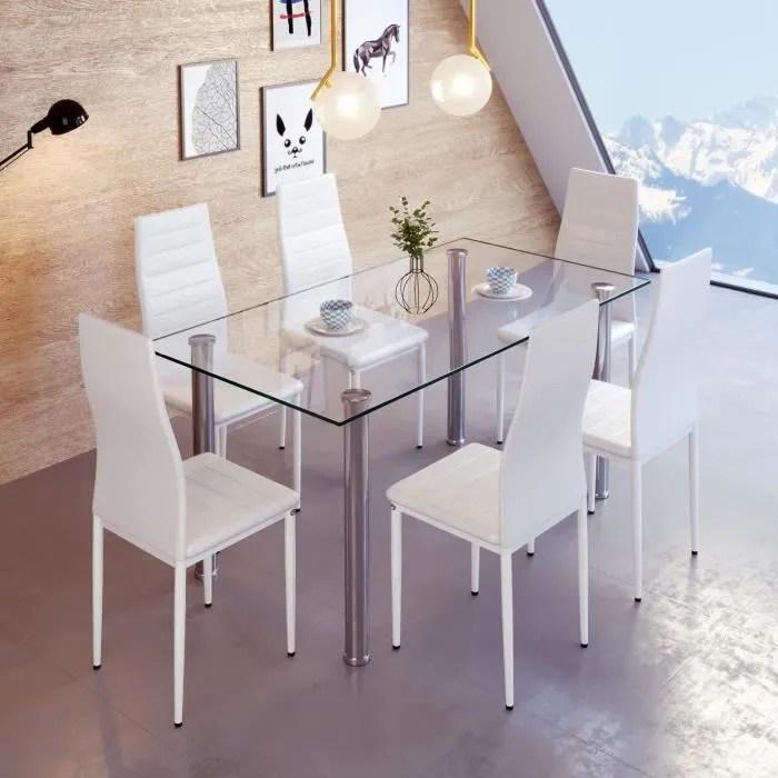 chaises de salle a manger lot de 6 blanc yongshia
