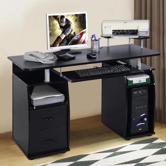 costway bureau informatique multimedia meuble de bureau pour ordinateur avec tablette imprimante tablette a clavier 2 tiroirs noir
