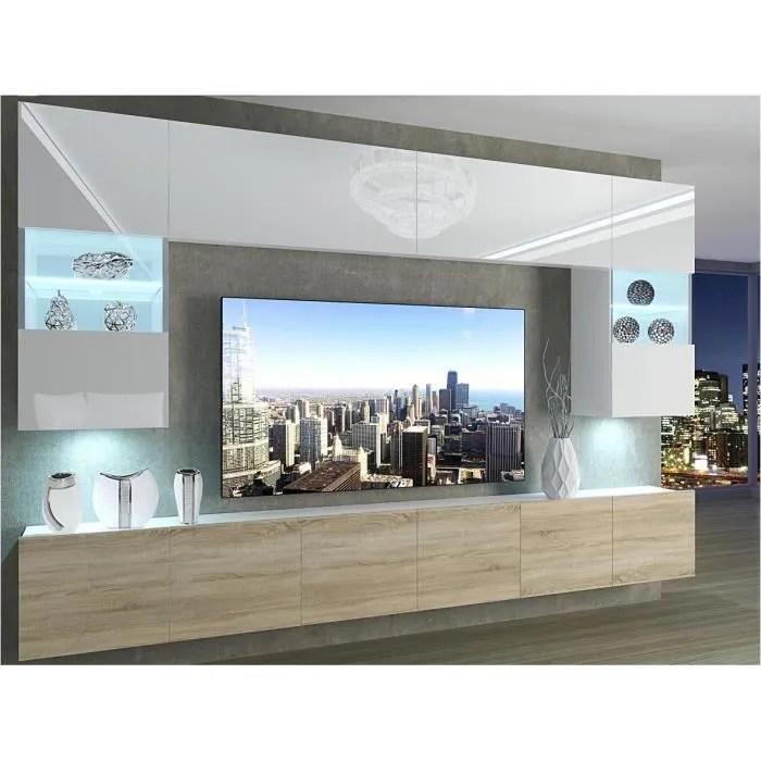 prins ensemble meubles tv led unite murale