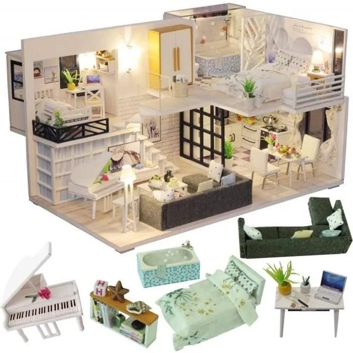 cutebee miniature avec des meubles de maison de poupee kit diy dollhouse en bois ainsi que la poussiere et le mouvement de la mu