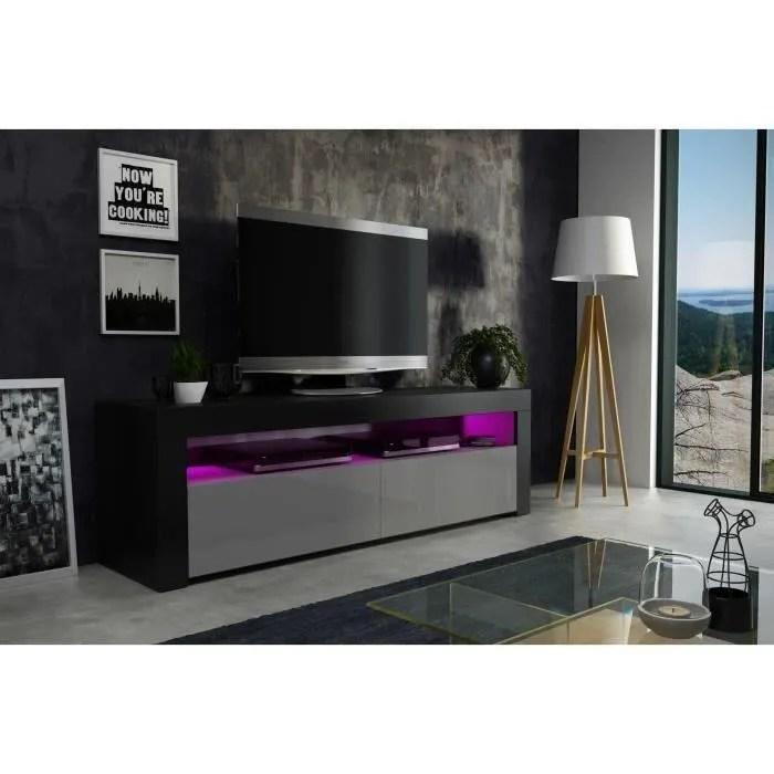 meuble tv 157 cm noir mat et gris laque led rgb