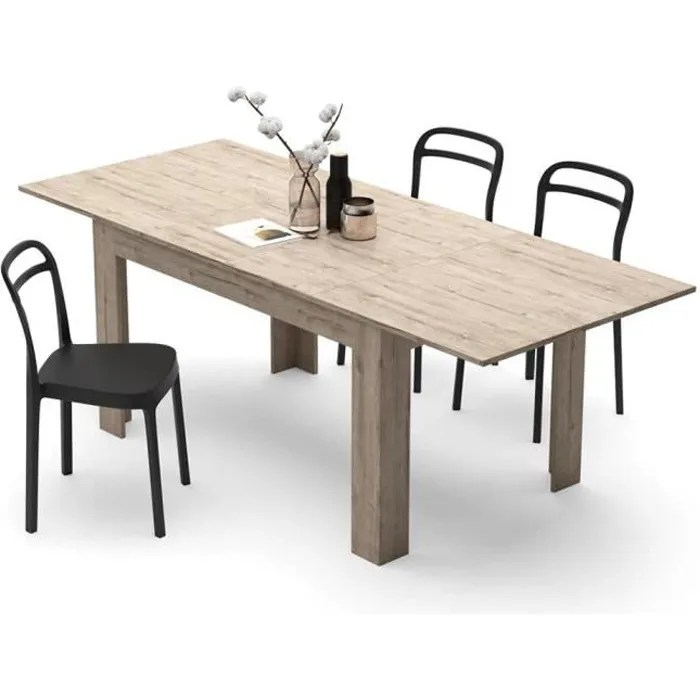 mobili fiver table extensible cuisine easy chene naturel melamine made in italy