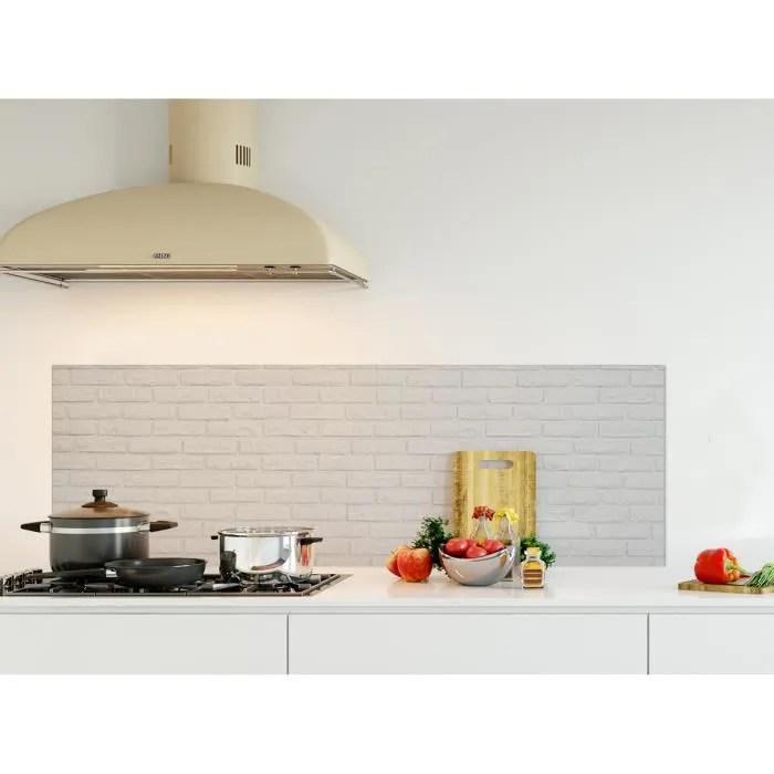 credence de cuisine adhesive en panneau composite aluminium texture brique blanche l 150 x h 50 cm