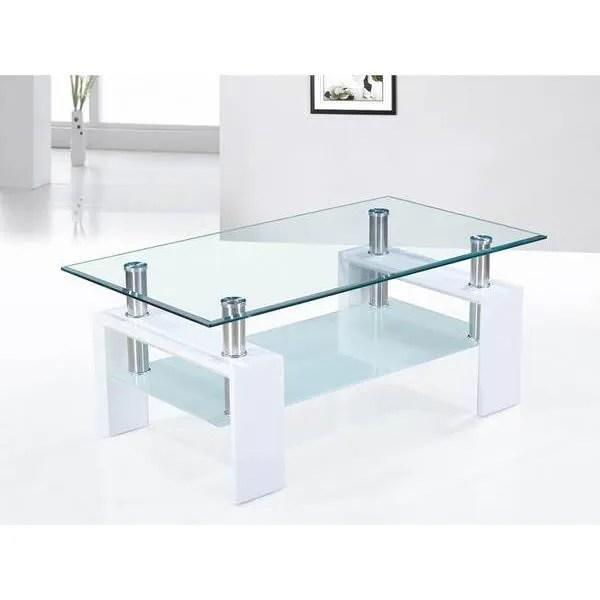 table basse blanc laque et plateaux verre design o