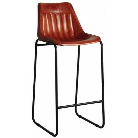 tabouret de bar en cuir marron et pieds en metal marron