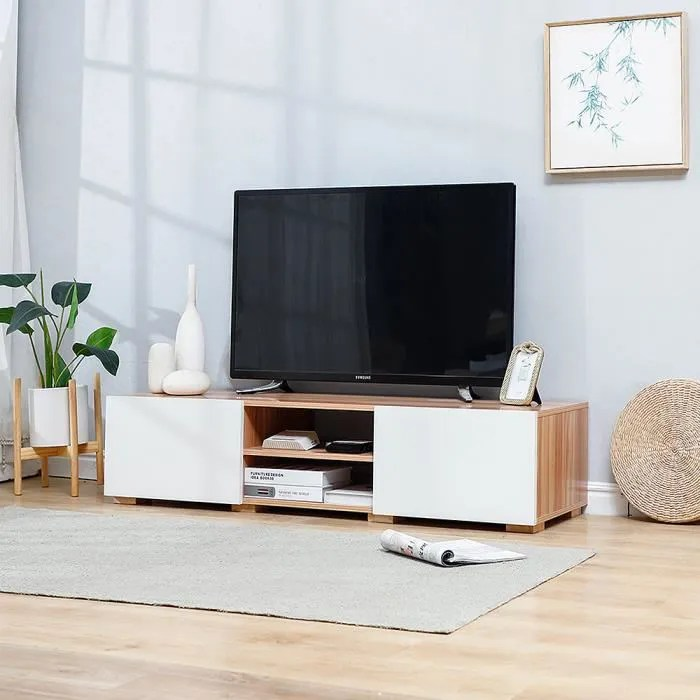 soarroc meuble tv scandinave blanc et decor chene