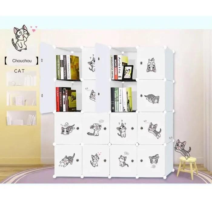 armoire de chambre plastique enfant meuble rangement 16 cubes modulables chouchou cadre metal rangement vetements chaussures sacs