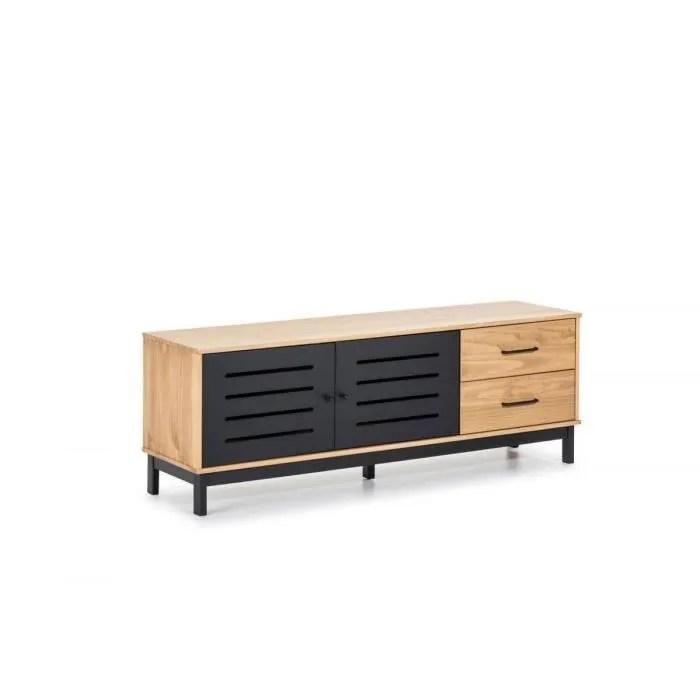 bobochic meuble tele austin noir bois clair noi