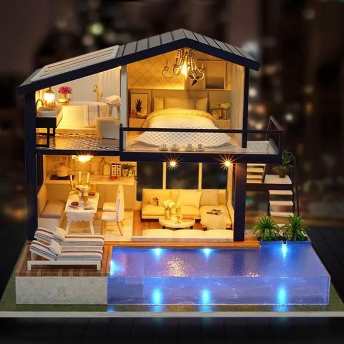 maison diy avec meubles enfants adultes miniature en bois maison de poupee modele de construction kits maison de poupee jouet