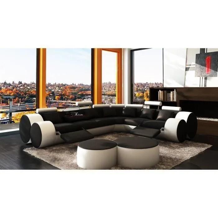 canape d angle cuir noir et blanc positions rela