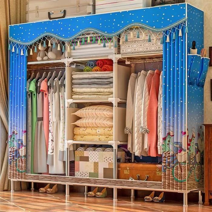armoire simple moderne economique armoire en tissu tuyau en acier renfort audacieux tout en acier cadre tissu armoire de rangement