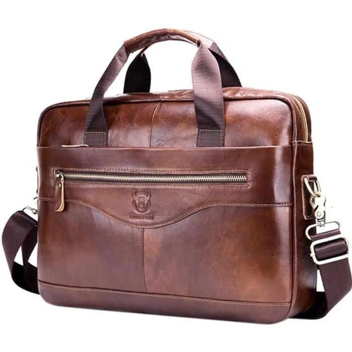 bullcaptain mallette en cuir veritable pour hommes sac d ordinateur d affaires vintage sacs de messager de mode sac a bandouliere