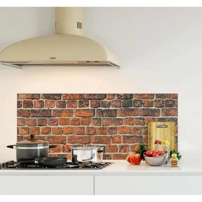 credence de cuisine adhesive en verre de synthese texture mur de brique rouge l 120 x h 50 cm