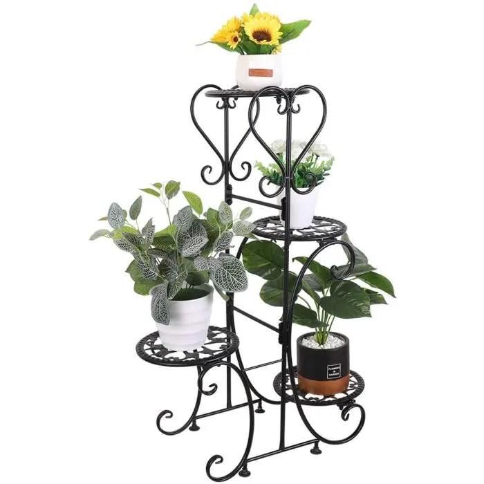 unho etagere plantes fer forge porte plante interieur 56x24x81 5cm echelle fleurs pour maison balcon terrasse jardin