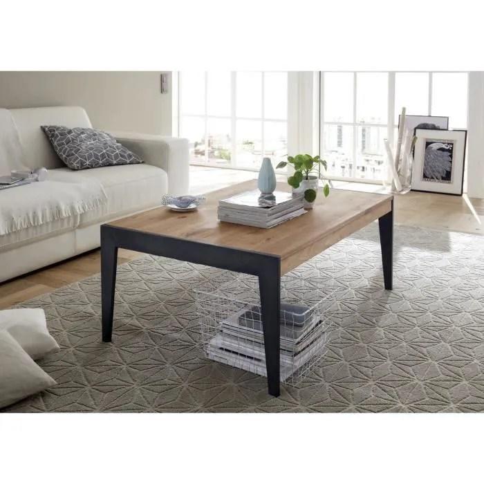 table basse en chene massif avec pied en metal laque noir l102 x h43 x p73 cm