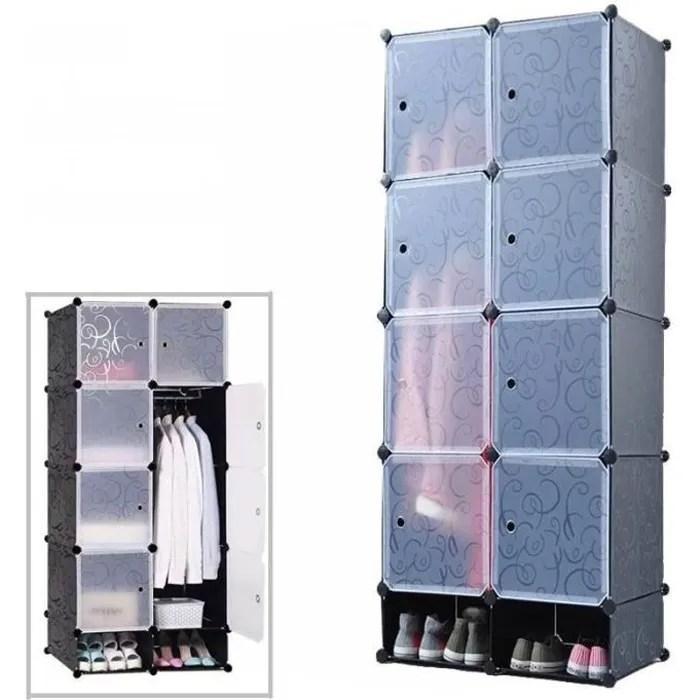mctech armoire penderie etagere de rangement modulables plastiques noir imprime cabinet avec armoire avec chaussures