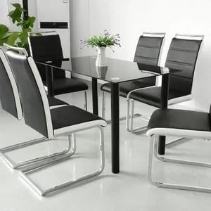 lot de 6 chaises salle a manger noir et blanc