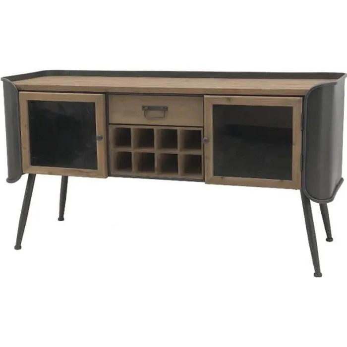 meuble bahut console tele tv industriel fer bois 1