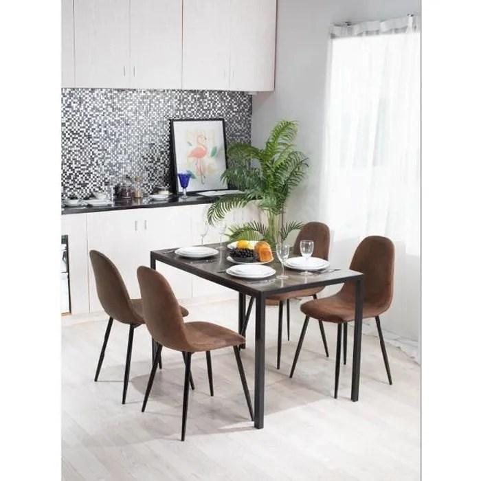table 4 places rectangle noyer marron noir bois metal salle a manger cuisine salon sejour bureau de travail