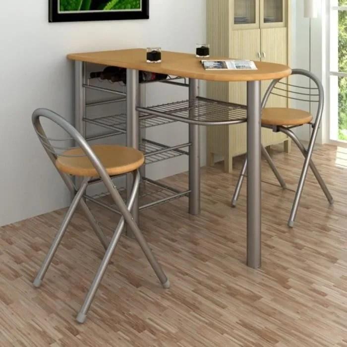 ensemble table de petit dejeuner bar avec 2pcs chaises pliant en bois acier pour cuisine salle a manger