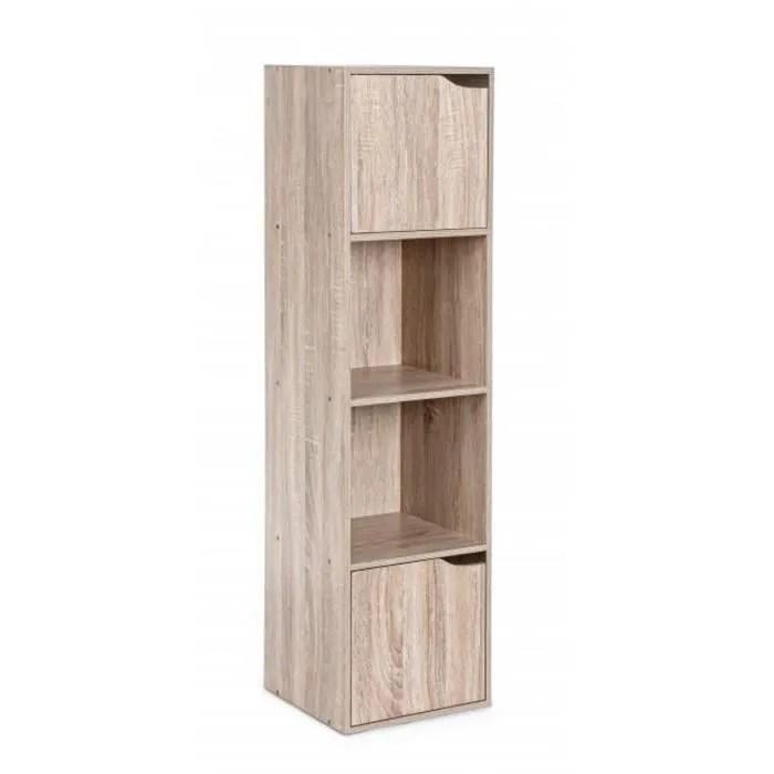 meuble etagere avec 2 portes coloris beige l 30 x p 29 x h 120 cm