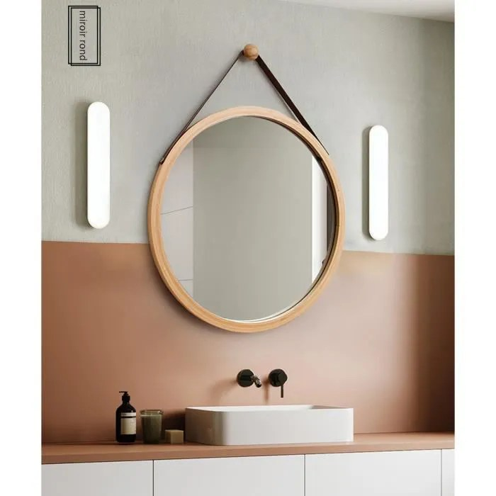 miroir bois rond