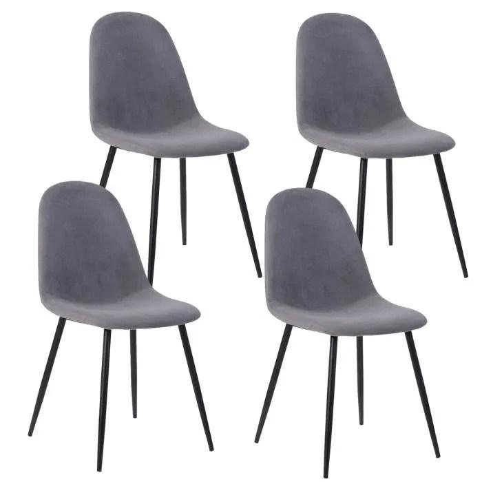 lot de 4 chaises avec pieds en metal scandinave