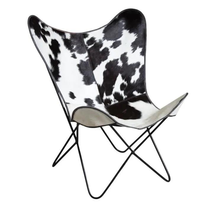 fauteuil butterfly en peau de vache