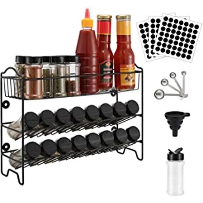 etagere a epices rangement de cuisine support mural a 3 niveaux porte epice avec 24 pots d epices organisateur de condiments 49 e
