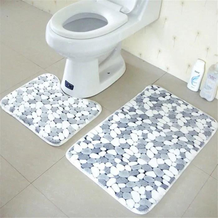 2 pcs tapis de bain et contour wc tapis de sol ant