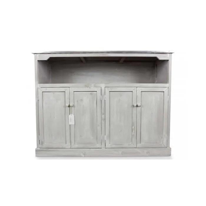meuble bas rangement bois ceruse blanc