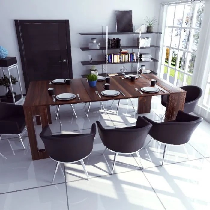 table extensible table salle a manger roma 80 cm chene canyon style moderne avec 3 rallonges style contemporain