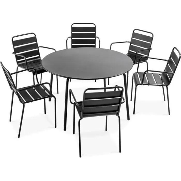 ensemble table de jardin ronde et 6 chaises avec a