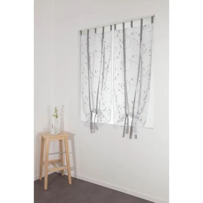 paire voilages vitrages 60 x 160 cm store enrouleur a pattes avec broderies blanc gris clair