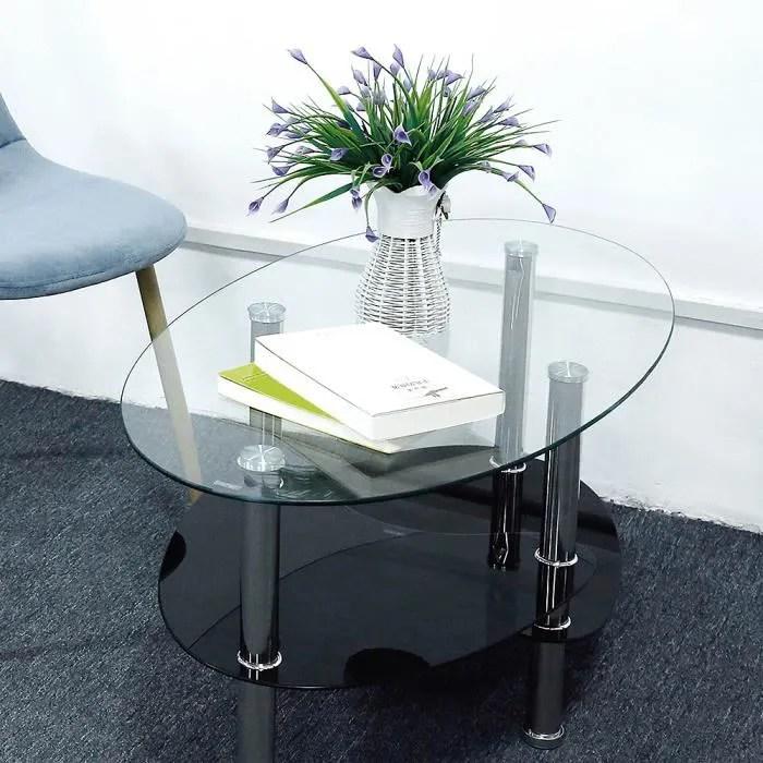 table basse en verre trempe transparent ellipse style simple contemporain 90 50 43cm