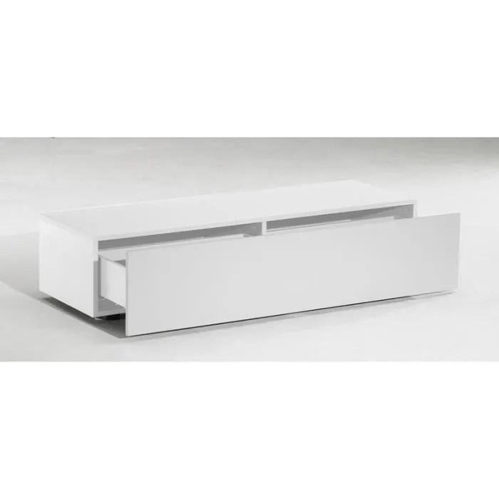 meuble tv bas delta 1 tiroir blanc mat