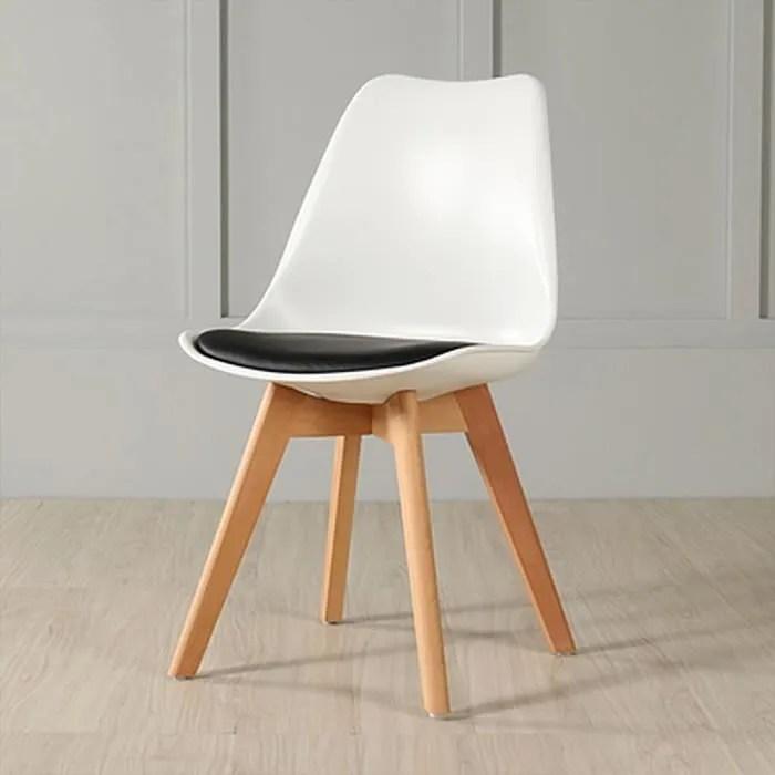 lot de 4 chaise retro design similicuir i pieds en bois et assise ergonomique chaise scandinave