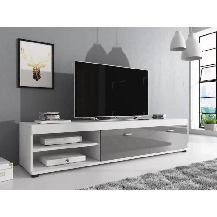 elsa meuble tv contemporain decor blanc et gris