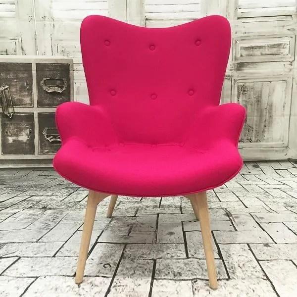 fauteuil ange design en laine rose