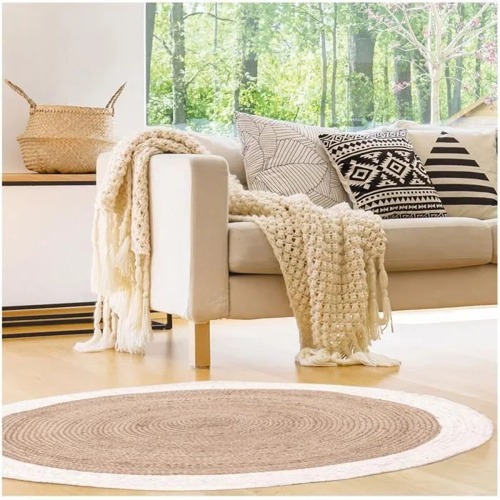 tapis jute boho beige blanc 120 cm r2494